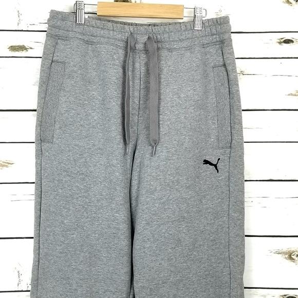 8c5e9b2591 Puma Mens Fleece Pants Medium Gray String Pockets NWT